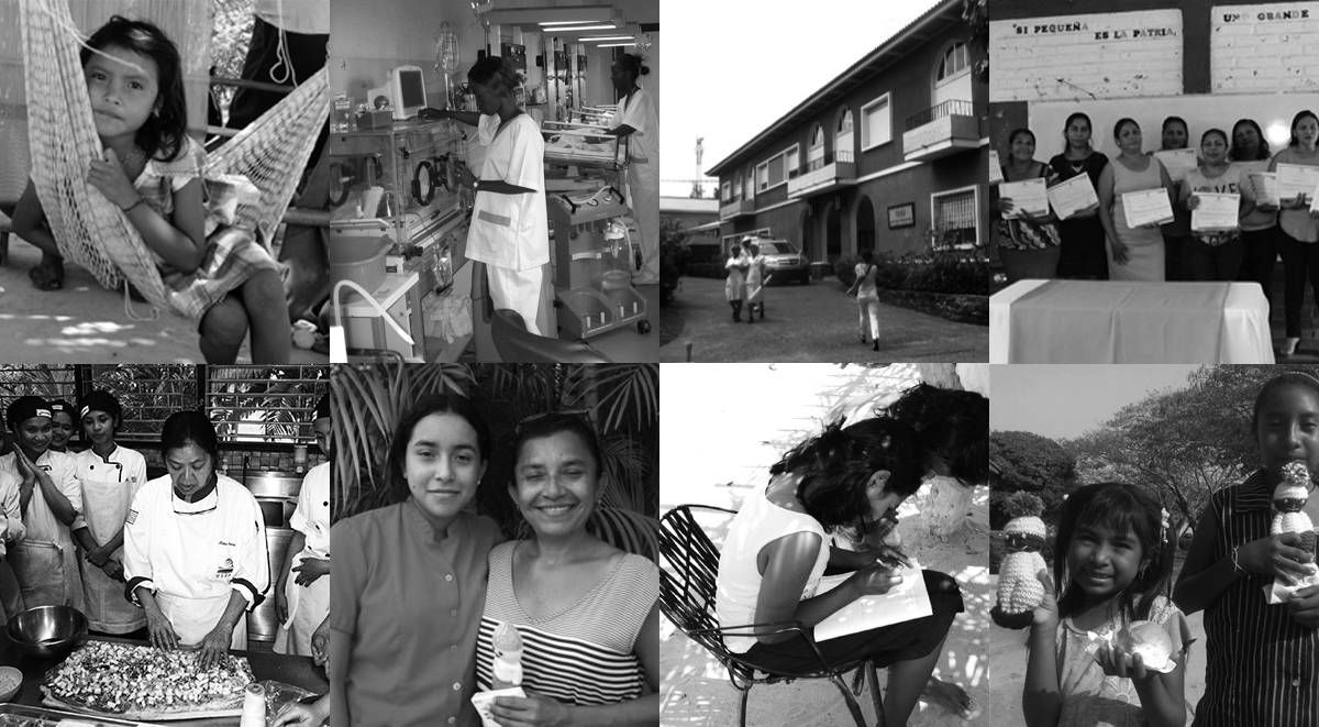 Black and white coloured photo collage